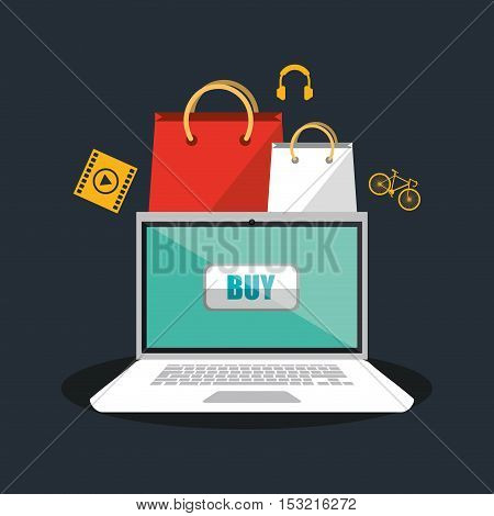 Laptop and bags icon. Shopping online ecommerce media and market theme. Colorful design. Vector illustration