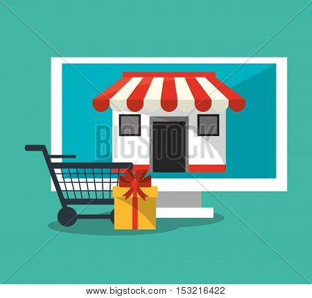 Computer store cart and gift icon. Shopping online ecommerce media and market theme. Colorful design. Vector illustration