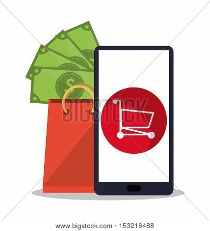 Smartphone bills cart and bag icon. Shopping online ecommerce media and market theme. Colorful design. Vector illustration