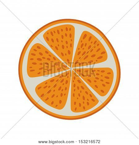 orange slice icon. healthy fruit natural food. isolated design. vector illustration