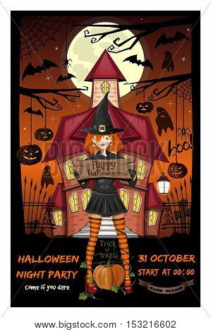 Halloween design. Invitation to a Halloween night party. Cute girl on the background of a haunted house. Vector illustration
