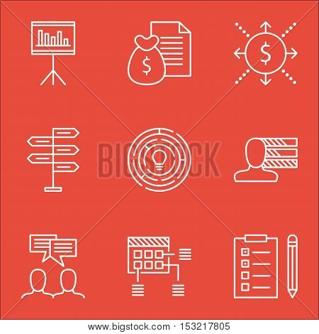 Set Of Project Management Icons On Opportunity, Money And Discussion Topics. Editable Vector Illustr