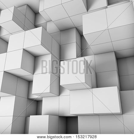 Structural design cubes with visible edges. 3D illustration.