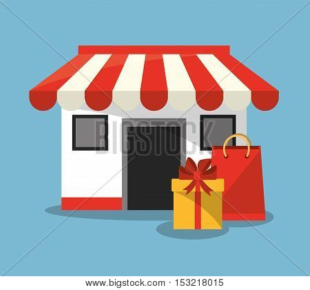 Store gift and bag icon. Shopping online ecommerce media and market theme. Colorful design. Vector illustration
