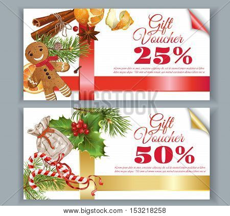 Vector Christmas gift voucher with traditional decoration, Christmas tree branches and ribbons. Design for any kind of products. Best for clothes, sweets, chocolate, cosmetics, tea and coffee