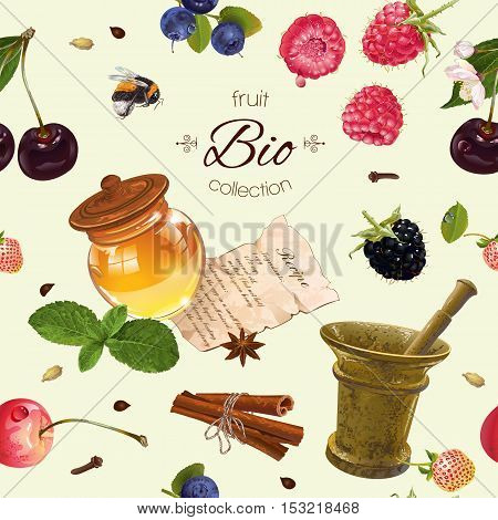 Vector berry cosmetic seamless pattern with honey and mortar. Design for natural cosmetics, health care products, aromatherapy, homeopathy, recipe book. Best for wrapping paper, fabric, print.