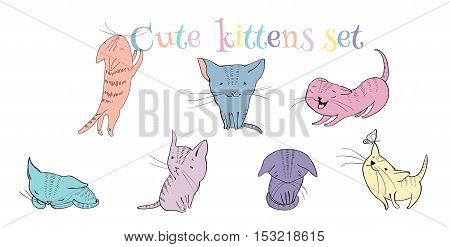 Vector sketch style cute little kittens set. Doodle funny characters isolated on white background. Best for T-shirts print.