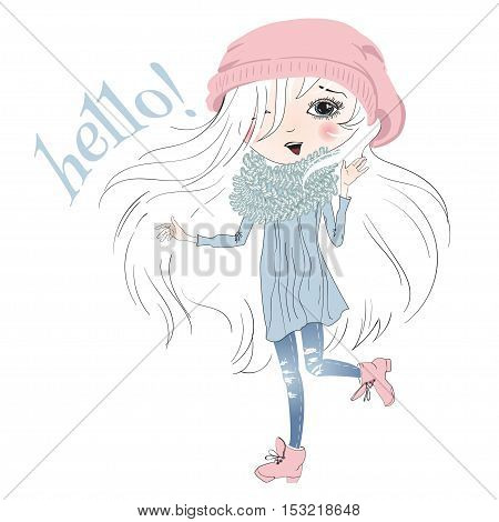 Vector illustration of pretty little girl isolated on white. Cartoon sketch style Girl with beautiful white hair says hello. Best for T shirt print