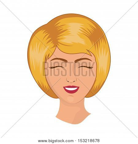 cartoon retro woman face smiling with red lips and classic hairstyle  over white background. vector illustration