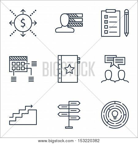 Set Of Project Management Icons On Warranty, Schedule And Discussion Topics. Editable Vector Illustr