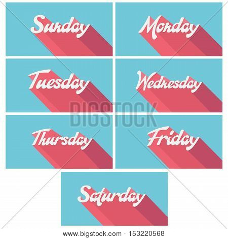 Abstract week days vector retro posters set