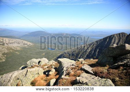 At the top of Mt Katahdin in Maine