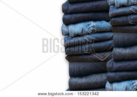 Blue Jeans On White Background And Blue Jeans Denim Collection Jeans Stacked