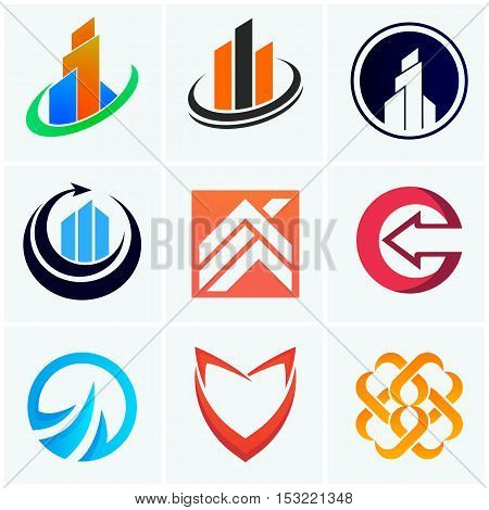 Abstract logo company signs symbols vector icons
