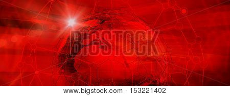 Abstract Global Connection Structure on Red Color Background. Illustration of Futuristic Networking Technology Concept. Blank Space for Your Contents Template Communication Business and Web Design