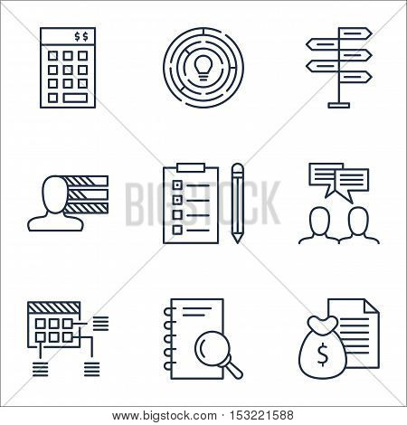 Set Of Project Management Icons On Personal Skills, Schedule And Analysis Topics. Editable Vector Il