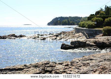 Edge of the coast in Bar Harbor in Maine.