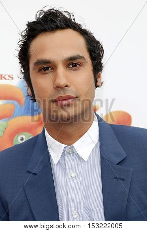 Kunal Nayyar at the Los Angeles premiere of 'Trolls' held at the Regency Village Theatre in Westwood, USA on October 23, 2016.