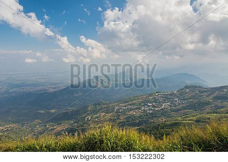 Landscape of rural city in moutain at northern thailand - Phu thap buek ,popular tourist attraction in Phetchabun province.