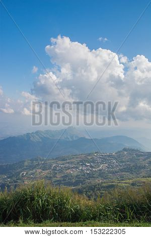 Landscape of rural city in moutain at northern thailand -Phu thap buek,popular tourist attraction in Phetchabun province.