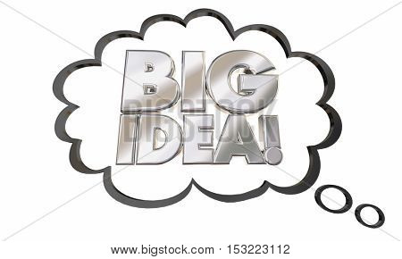 Big Idea Thought Cloud Concept Words 3d Illustration