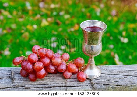 Wine Grapes Glass Of Jewish Holidays