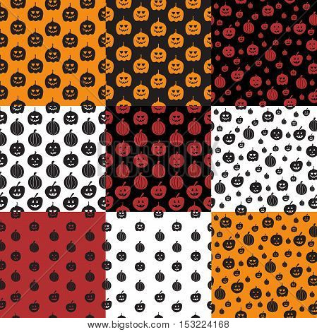 Set of 9 Seamless pattern with pumpkin. Halloween background