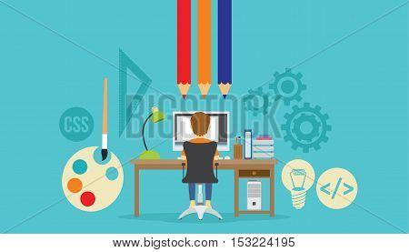 web design developer at work in font of desk vector illustration