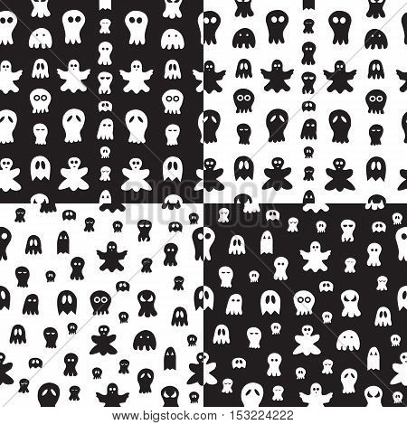 Set of 4 Seamless pattern with ghosts. halloween hand drawn background.
