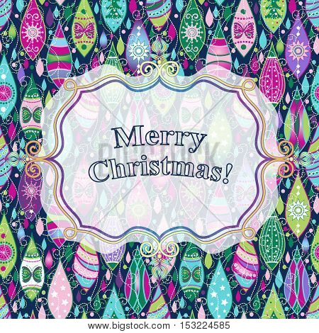 Christmas colorful greeting card with toys and translucent white label vector eps10