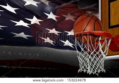 Basketball score shoot with American flag background