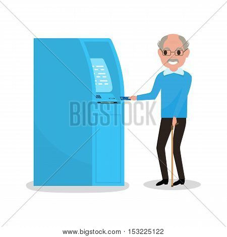 Vector illustration cartoon grandfather got a plastic credit card. Old man puts an electronic card into the ATM. Receive a pension. Loan for pensioner. Getting money through an cash dispenser.
