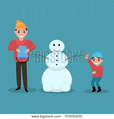 Vector illustration of a cartoon happy father and son together build mold snowman. Dad and kid having fun outdoors. Flat style. Child and parent playing with snow. Outdoor Play.