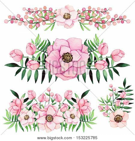 Set of Watercolor Shabby Chic Bouquets with Pink Flowers Berries and Deep Green Leaves