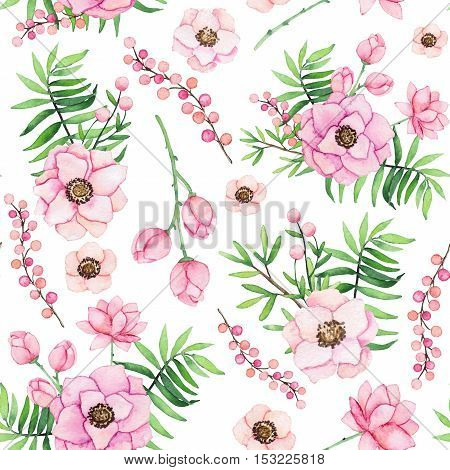 Seamless Pattern with Watercolor Gentle Bouquets and Berries