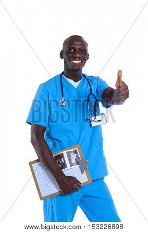 Portrait of handsome doctor holding a folder, showing Ok sign