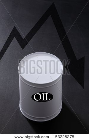 Oil barrel with arrow sign pointing down