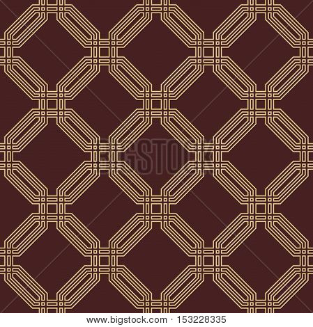 Geometric fine abstract octagonal background. Seamless modern pattern. Brown and golden pattern