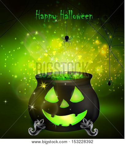 Halloween witches cauldron with Jack O Lantern face and green potion and spiders on dark background, illustration.
