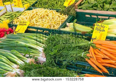 Market stand with different vegetables for sale