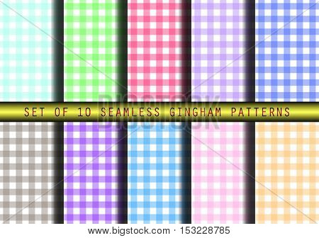 Set of ten seamless gingham patterns. Traditional check background prints.