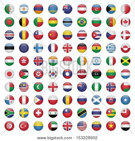 Set of circle flag icons isolated on white background vector illustration