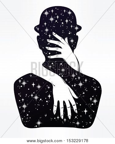 Hand drawn beautiful silhouette artwork of couple in a hug. Mystic lady hugging a man in a bowler hat. Surrealism, character design, romance, tattoo art. Isolated vector illustration.