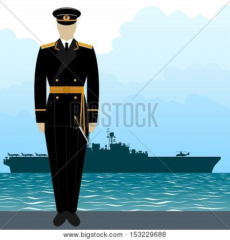 Soldier in uniform of military seaman on a background of a warship. The illustration on a white background.