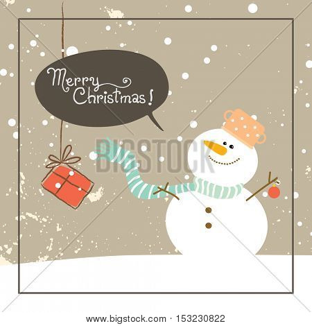 Christmas snowman, merry christmas greeting card. Doodle style winter vector illustration.