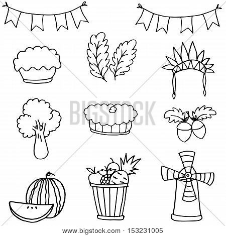 Stock collection thanksgiving set doodles vector art