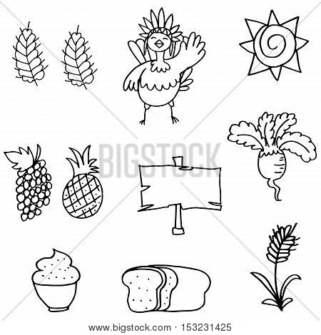 Stock of thanksgiving set doodles hand draw vector