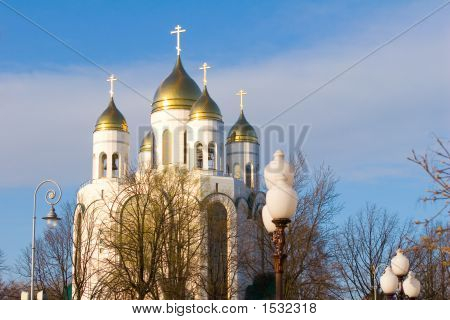 White Cathedral Orthodox Church In The Center Of Kaliningrad, Russia