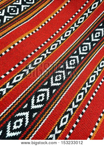 A Red Theme Arabian Sadu Rug Weaving Patterns Closeup