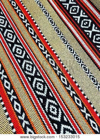 Beige Arabian Sadu Rug Weaving Patterns Closeup